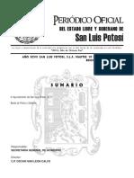 Bando de Policia y Gobierno Del Municipio de San Luis Potosi