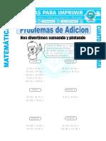 Ficha Problemas de Adicion Para Cuarto de Primaria Copy