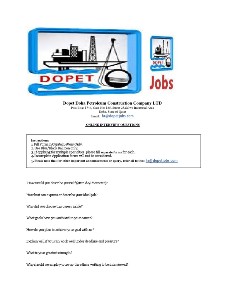 Dopet Doha Petroleum Construction Company ONLINE INTERVIEW