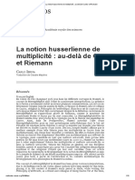 La notion husserliene de multiplicité