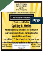 DVBS Certificate