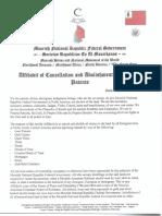 Affidavit of Cancellation and Abolishment of All Land Patents