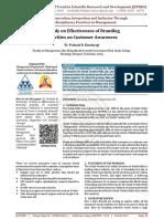 A Study on Effectiveness of Branding Activities on Customer Awareness