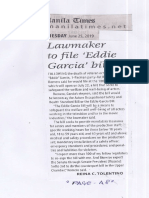 Manila Times, June 25, 2019, Lawmaker to file Eddie Garcia bill.pdf