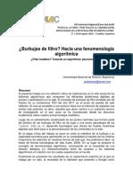 Burbujas de Filtro, Hacia Una Fenomenología
