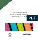 Orientaciones para la formulación de planes de Gobierno 2016-2019