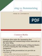 Paraphrasing vs Summarization