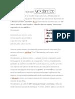 DEFINICIÓN DE ACRÓSTICO