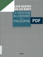 Alain Badiou, Jean-Luc Nancy_ Jan Völker (ed.) - La tradition allemande dans la philosophie-Lignes.pdf