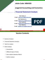 MBA503 - Session 4 - Ratio Analysis