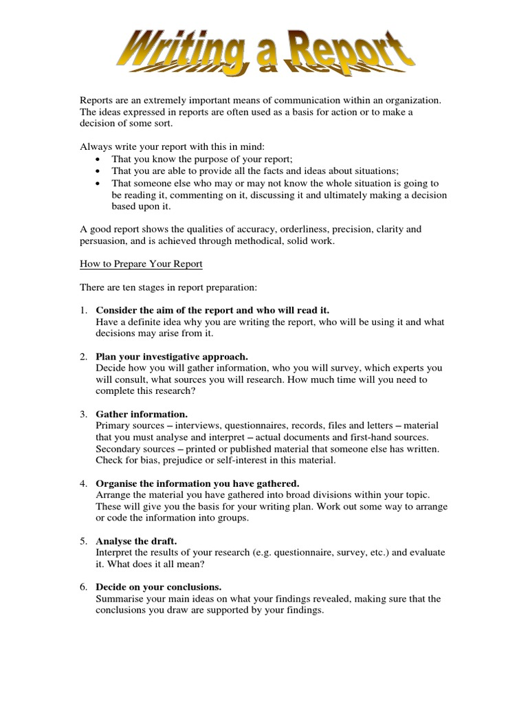 Writing A Report - Guidelines  PDF  Truth  Epistemology