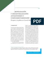Metropolización Descentralización. Antagonismos y Complementariedades