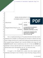 StemGenex Lawsuit Document 134 Judge's Order Granting Plaintiff's Motion for Class Certification