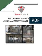 Full Height Turnstile User Manual - ARMA KONTROL