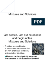 Mixtures Solutions Solubility