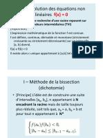 Résumé Cours Résolution Des Équations Non Linéaires f(x) 0