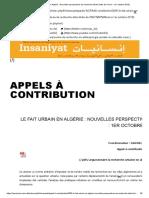 Le Fait Urbain en Algérie