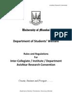 Avishkar Rules and Regulations for Avishkar Research Convention 2017 18