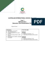 2016 Year 7 Maths Semester 1 Exam Paper