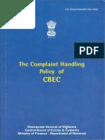 Complaint Handling Policy of CBEC