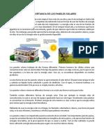 Importancia de Los Paneles Solares 2018.