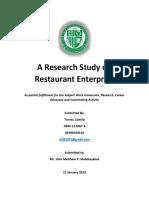A Research Study on Restaurant Enterprise