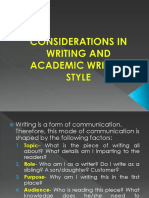 Considerations in Writing