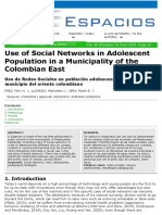 Artículo_FélixPáez_Use of Social Networks in Adolescent Population in a Municipality of the Colombian East