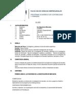 Sílabo de Investigación de Mercados 2018-0, Curso de Verano