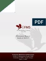 FMS Delhi - Placement Report - 2015 - 2017 Finals