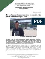 Comunicado 008-2019 en Hechos Confusos Encuentran Cuerpo Sin Vida de Un Hermano Indígena Awá. (1)
