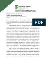 Atividade Avaliativa Presencial Estudos Culturais.
