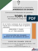 Toefl ® itp convocatoria AGOSTO 2019