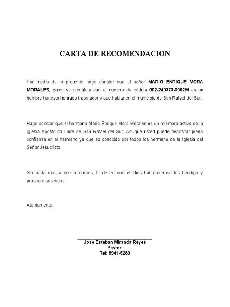 ejemplos de una carta de recomendacion personal - Etame.mibawa.co