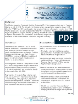 Map 21 Act.Map 21 Legislative One Pager2014 Pdf Infrastructure