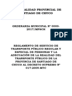 Modelo Reglamento de Transportes Municipalidad Provincial de Santiago de Chuco