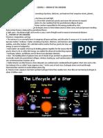 Handout_lesson 1 Origin of the Universe
