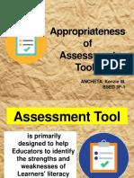 Appropriateness of School Assessment Tool