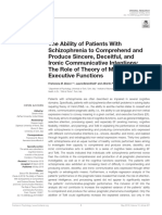Bosco, F. M., Berardinelli, L., & Parola, A. (2019). the Ability of Patients With Schizophrenia to Comprehend and Produce Sincere, Deceitful, And Ironic Communicative Intentions.the Role of Theory of Mind and Executive Functions.