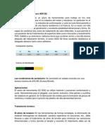 Características Del Acero AISI D2 y Caracteristicas Del Lubricante