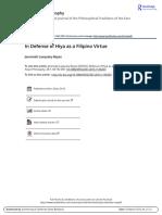 In Defense of Hiya as a Filipino Virtue