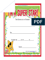 Free Printable Super Star Award Certificate
