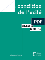 Alexis Nouss La condition de l'exilé