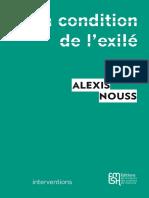 Alexis Nouss La condition de l'exilé