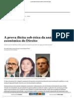 A Prova Ilícita Sob Ótica Da Análise Econômica Do Direito