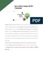 Nagaland State Lottery today 26-06-2019,Lottery Sambad