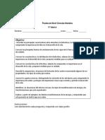 PRUEBA  DE NIVEL  6° CIENCIAS PRIMER SEMESTRE