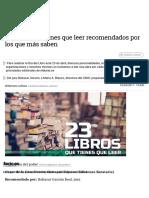 23 Libros Que Tienes Que Leer Recomendados Por Los Que Más Saben