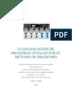 Practica 2 de Bioquimica Cuantificación de Proteínas Totales Por El Método de Bradford
