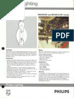 Philips 400 Watt Base Up Burning Metal Halide Lamps Bulletin 10-88